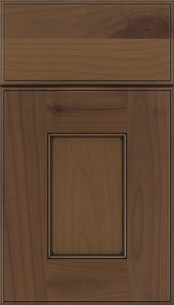 Berkeley Alder flat panel cabinet door in Sienna with Black glaze