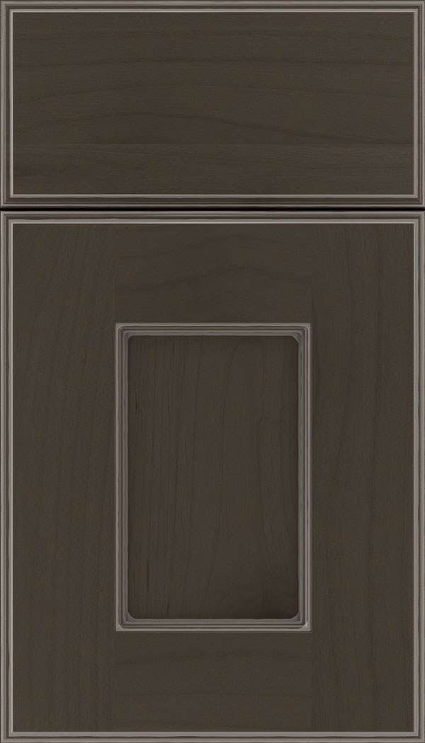 Berkeley Alder flat panel cabinet door in Thunder with Pewter glaze