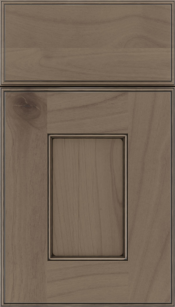 Berkeley Alder flat panel cabinet door in Winter with Black glaze