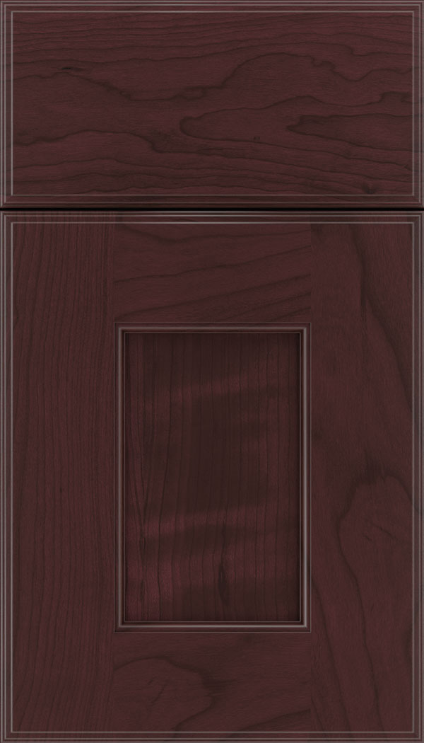 Berkeley Cherry flat panel cabinet door in Bordeaux