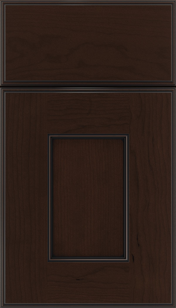 Berkeley Cherry flat panel cabinet door in Cappuccino with Black glaze