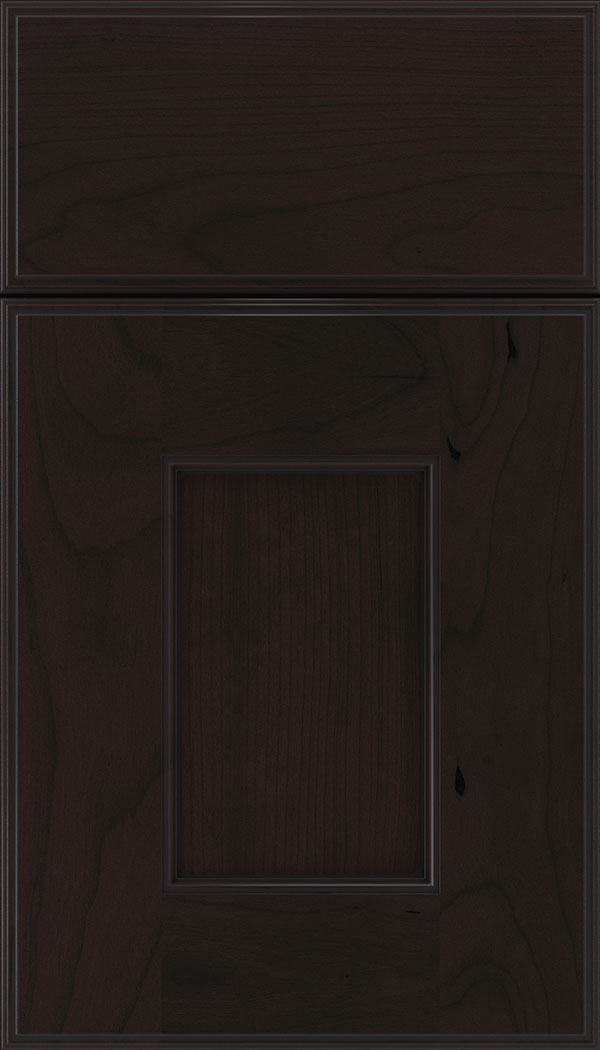 Berkeley Cherry flat panel cabinet door in Espresso with Black glaze