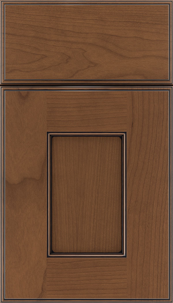 Berkeley Cherry flat panel cabinet door in Nutmeg with Black glaze