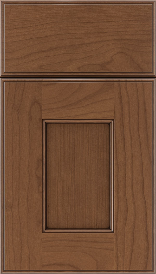 Berkeley Cherry flat panel cabinet door in Nutmeg with Mocha glaze