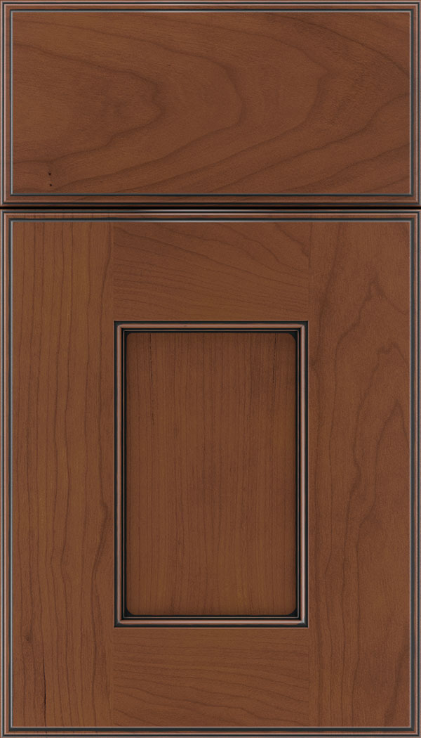 Berkeley Cherry flat panel cabinet door in Russet with Black glaze