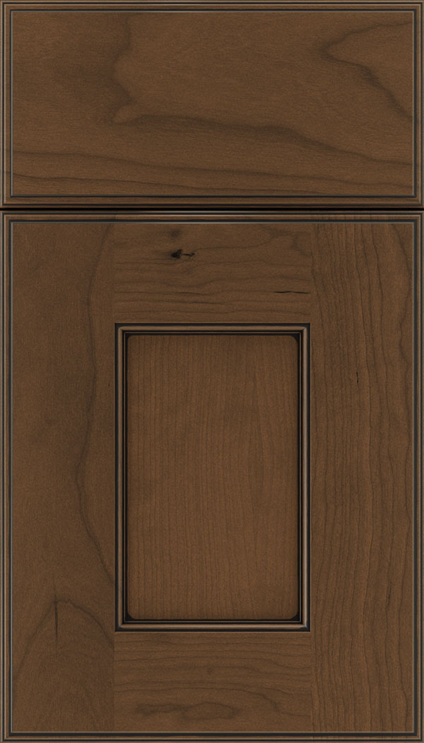Berkeley Cherry flat panel cabinet door in Sienna with Black glaze
