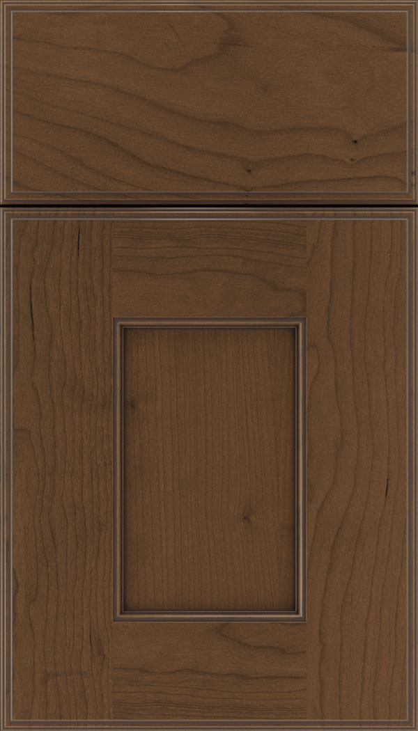 Berkeley Cherry flat panel cabinet door in Sienna with Mocha glaze
