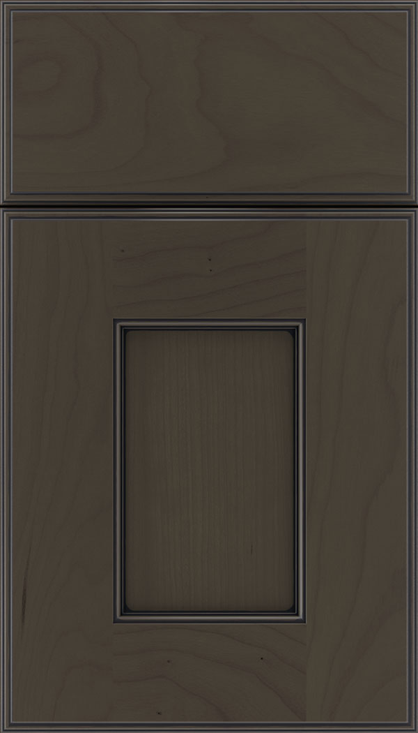 Berkeley Cherry flat panel cabinet door in Thunder with Black glaze