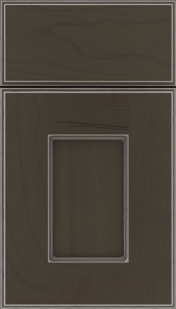 Berkeley Cherry flat panel cabinet door in Thunder with Pewter glaze