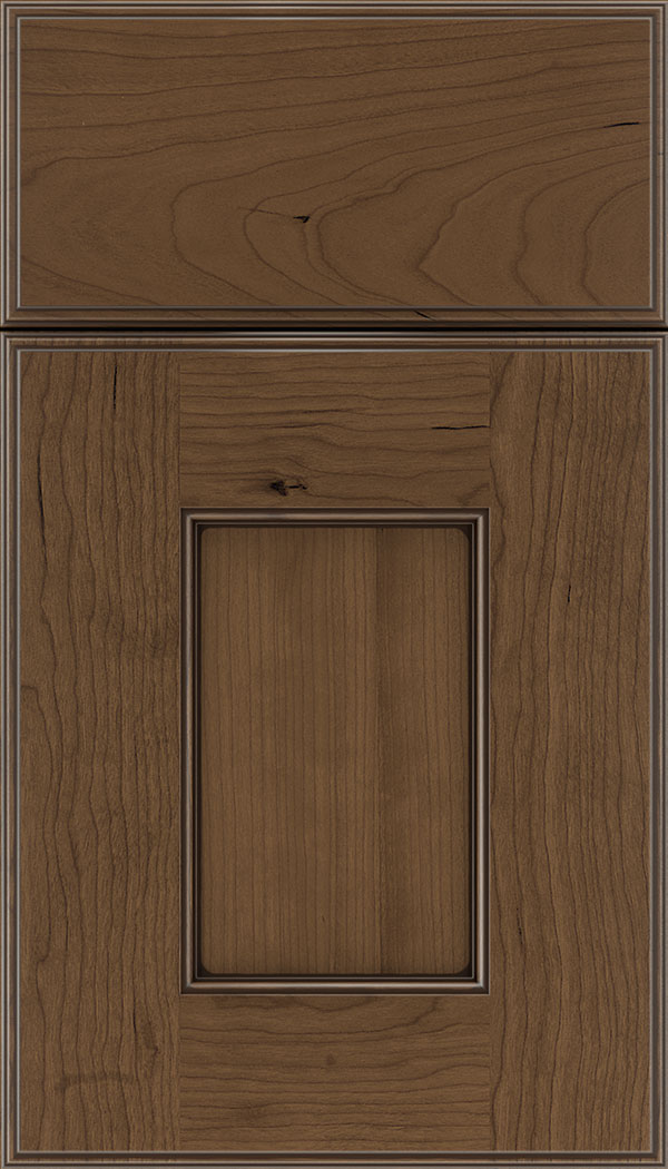 Berkeley Cherry flat panel cabinet door in Toffee with Mocha glaze