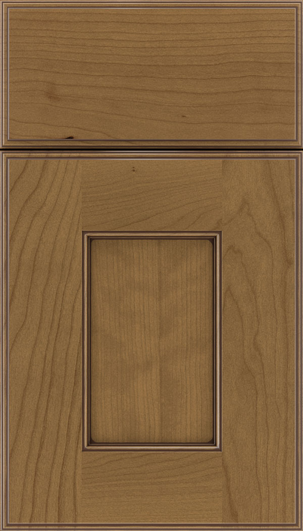 Berkeley Cherry flat panel cabinet door in Tuscan with Mocha glaze