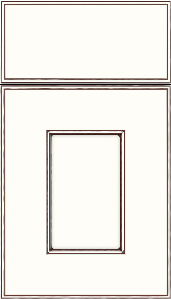 Berkeley Maple flat panel cabinet door in Alabaster with Mocha glaze