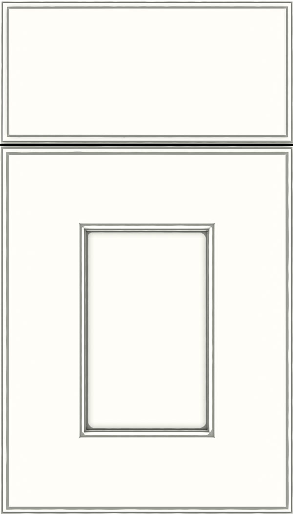 Berkeley Maple flat panel cabinet door in Alabaster with Pewter glaze