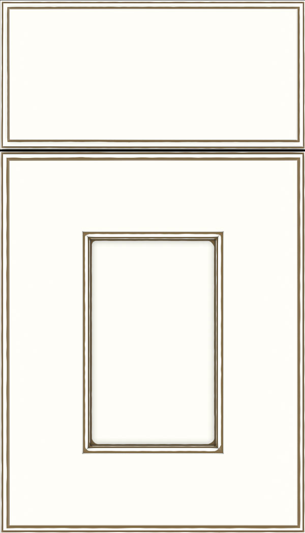 Berkeley Maple flat panel cabinet door in Alabaster with Smoke glaze