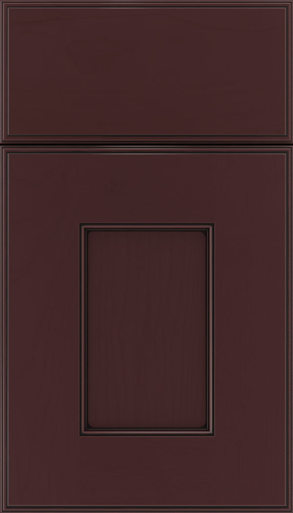 Berkeley Maple flat panel cabinet door in Bordeaux with Black glaze