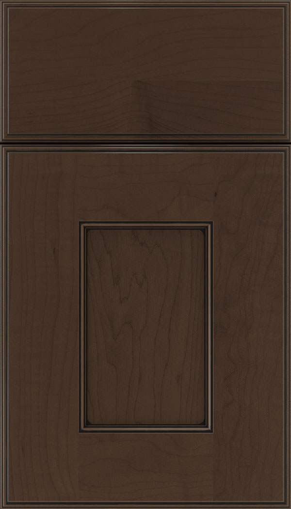 Berkeley Maple flat panel cabinet door in Cappuccino with Black glaze
