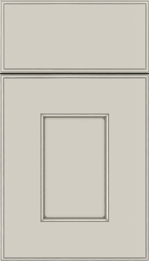 Berkeley Maple flat panel cabinet door in Cirrus with Pewter glaze