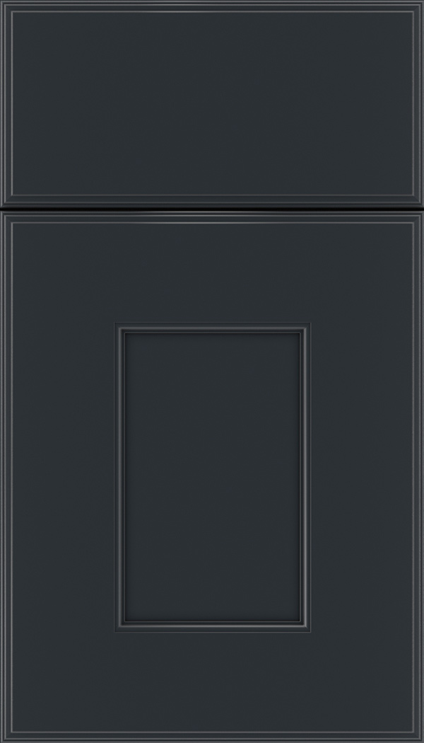 Berkeley Maple flat panel cabinet door in Gunmetal Blue