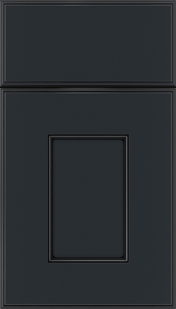 Berkeley Maple flat panel cabinet door in Gunmetal Blue with Black glaze