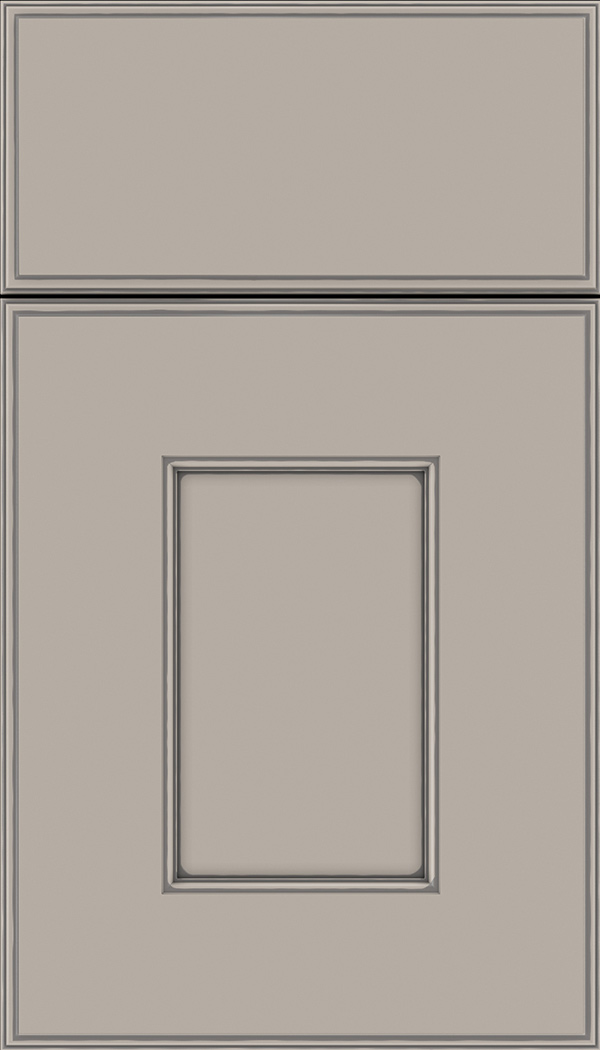 Berkeley Maple flat panel cabinet door in Nimbus with Pewter glaze