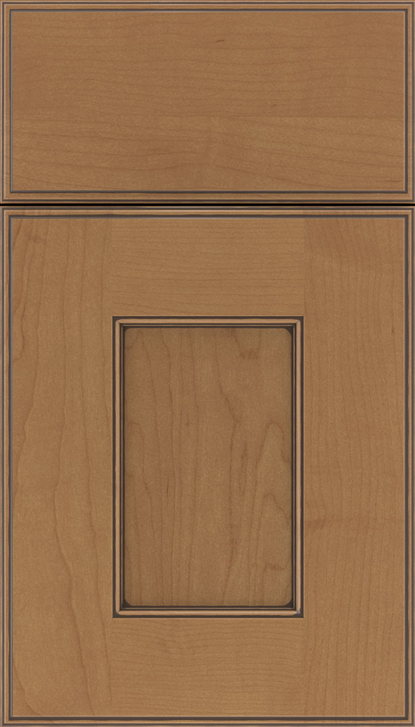 Berkeley Maple flat panel cabinet door in Nutmeg with Mocha glaze
