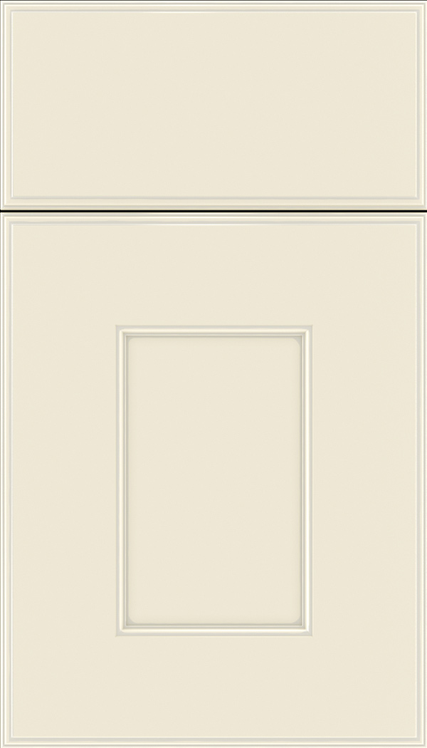 Berkeley Maple flat panel cabinet door in Seashell with Pewter glaze