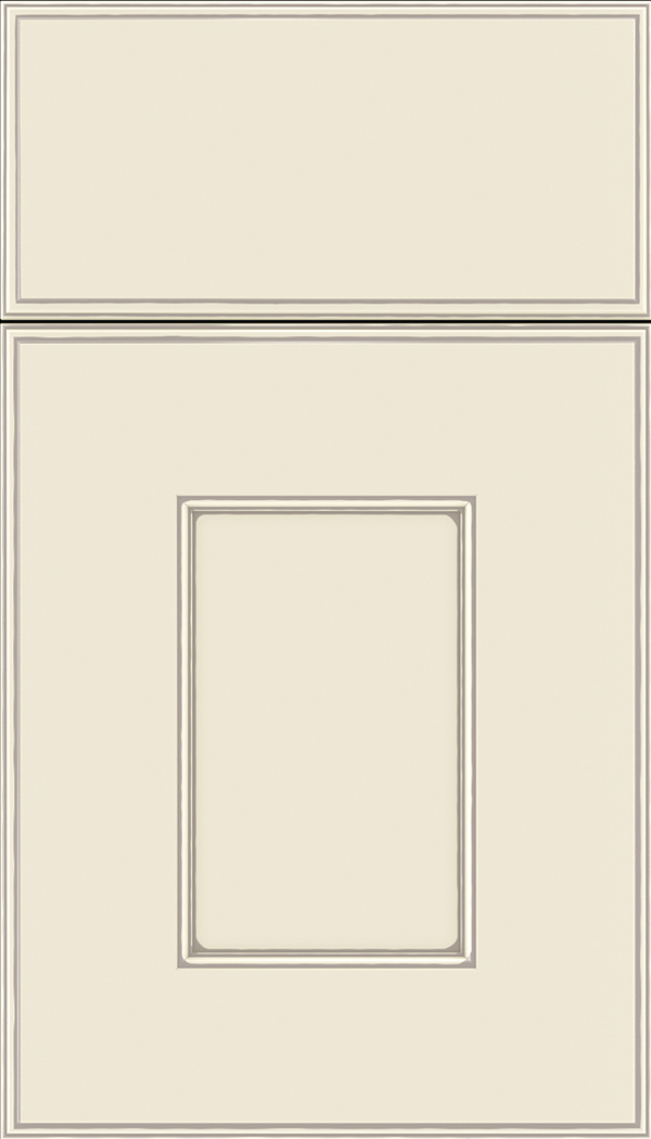 Berkeley Maple flat panel cabinet door in Seashell with Smoke glaze