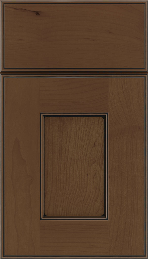Berkeley Maple flat panel cabinet door in Sienna with Black glaze