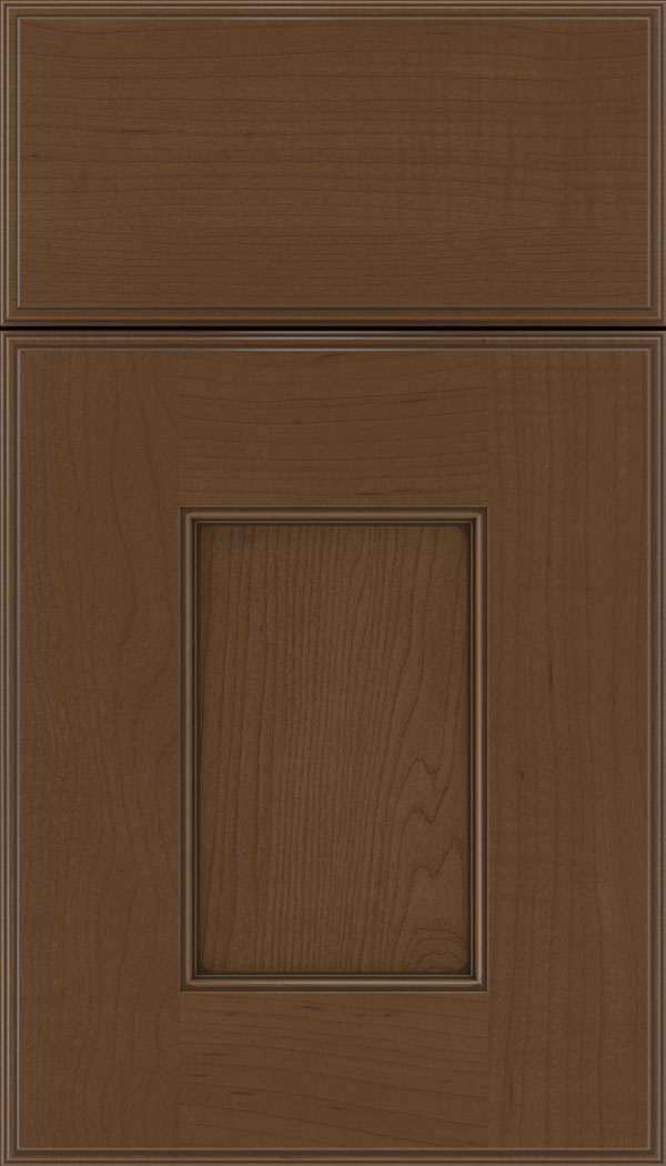 Berkeley Maple flat panel cabinet door in Sienna with Mocha glaze