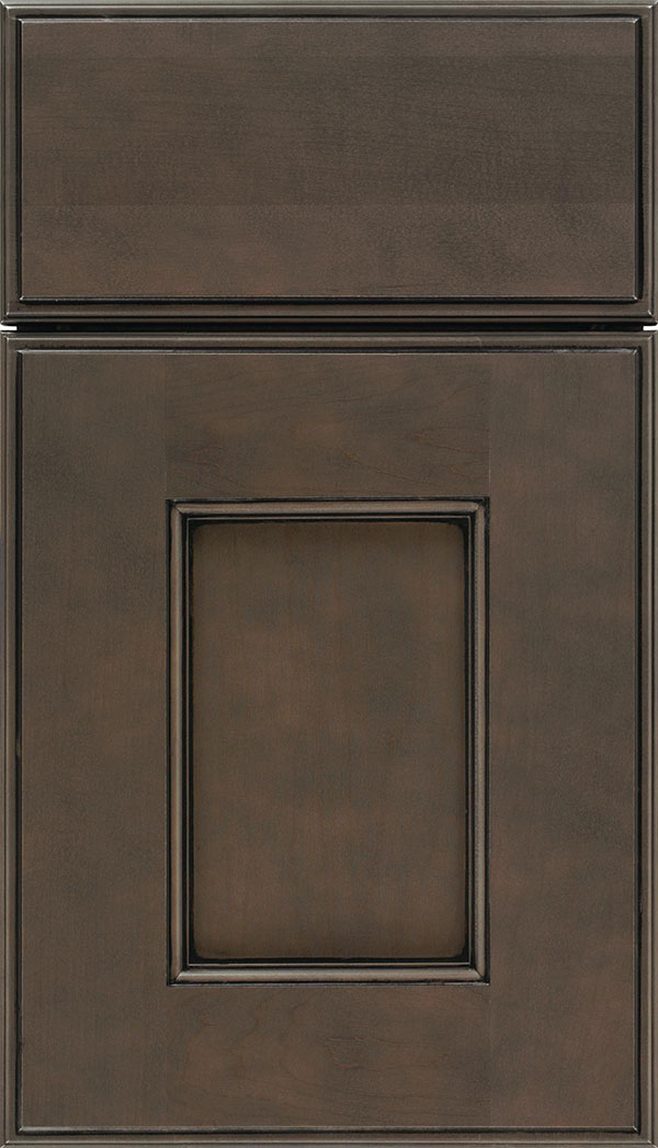 Berkeley Maple flat panel cabinet door in Thunder with Black glaze