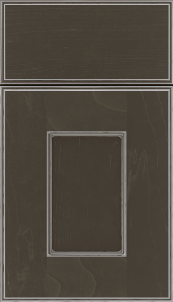 Berkeley Maple flat panel cabinet door in Thunder with Pewter glaze