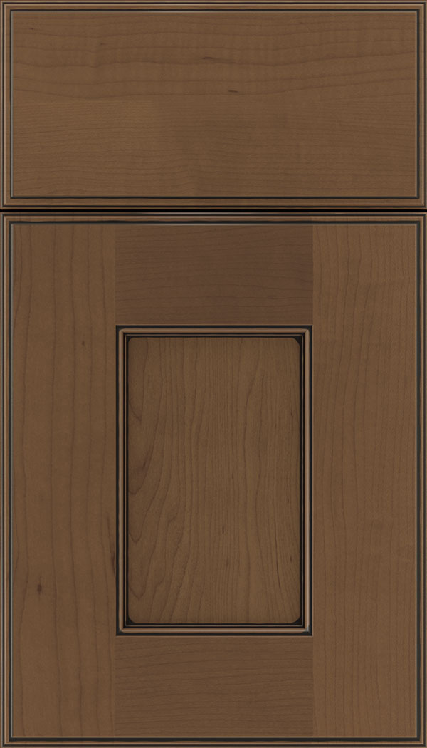 Berkeley Maple flat panel cabinet door in Toffee with Black glaze