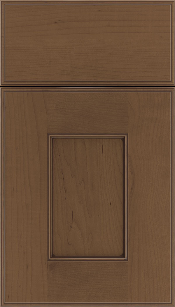 Berkeley Maple flat panel cabinet door in Toffee with Mocha glaze