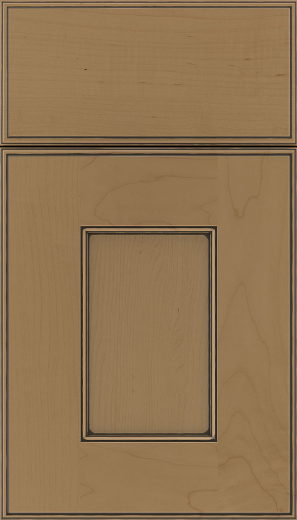 Berkeley Maple flat panel cabinet door in Tuscan with Black glaze