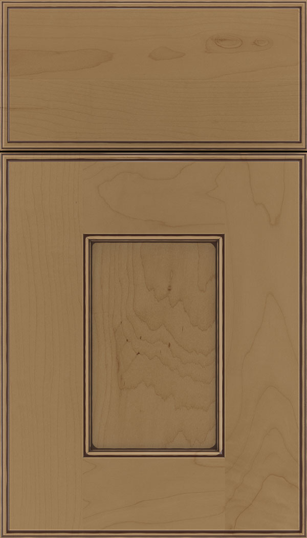 Berkeley Maple flat panel cabinet door in Tuscan with Mocha glaze