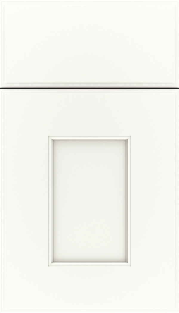 Berkeley Maple flat panel cabinet door in Whitecap