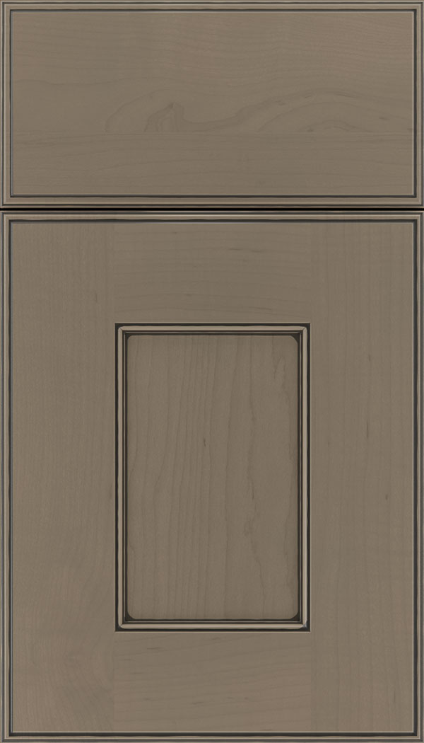 Berkeley Maple flat panel cabinet door in Winter with Black glaze