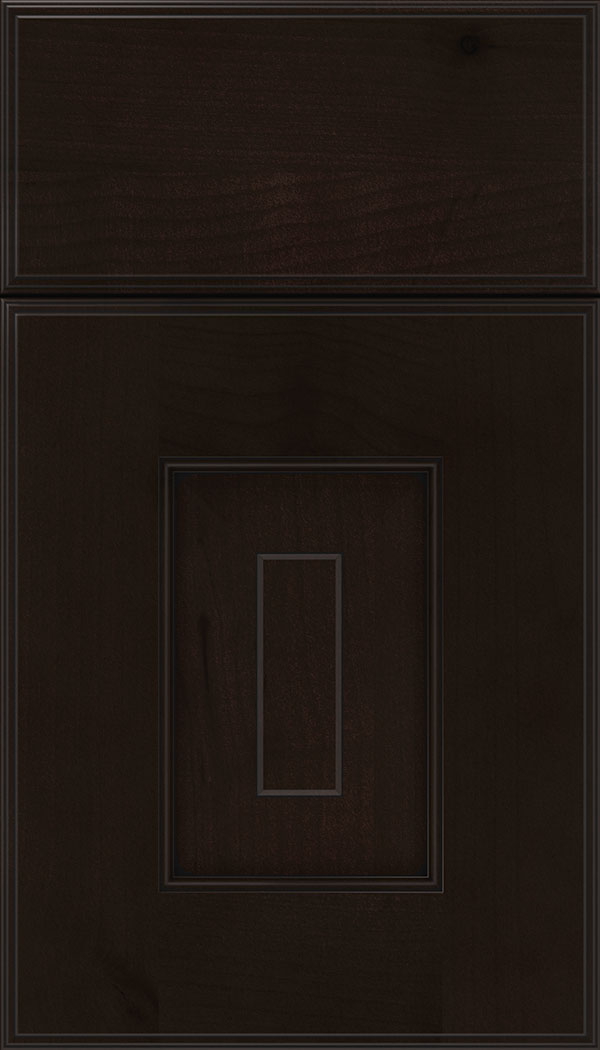 Brookfield Alder raised panel cabinet door in Espresso with Black glaze