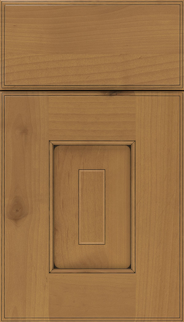 Brookfield Alder raised panel cabinet door in Ginger with Black glaze