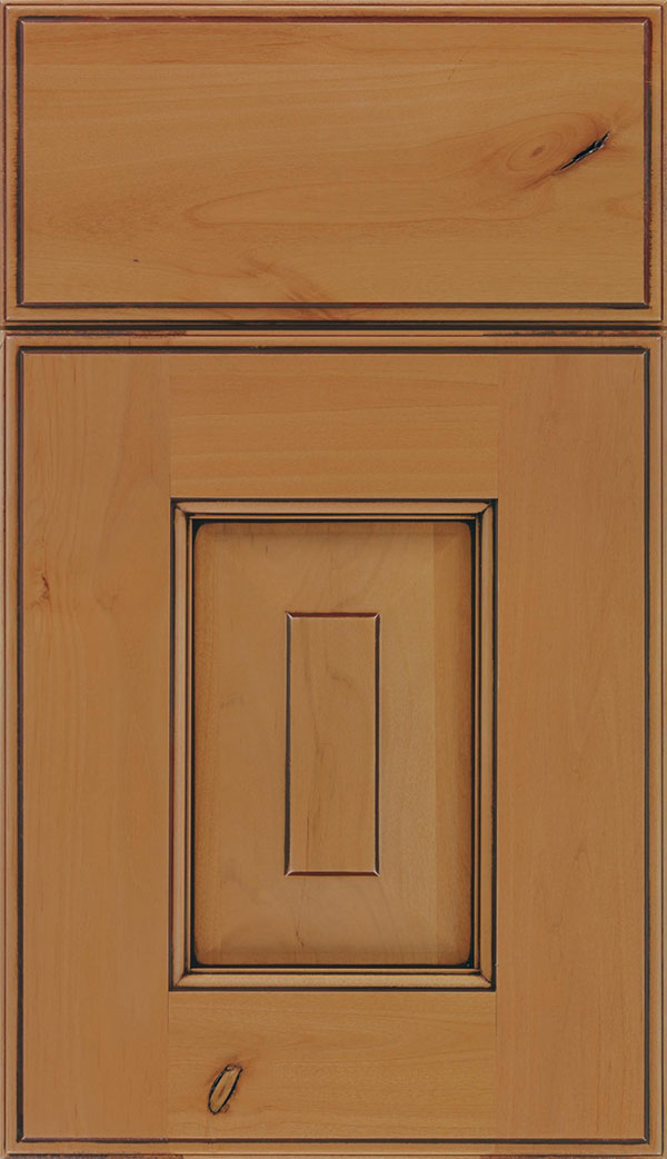 Brookfield Alder raised panel cabinet door in Ginger with Mocha glaze