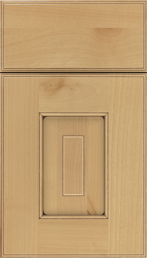 Brookfield Alder raised panel cabinet door in Natural with Mocha glaze