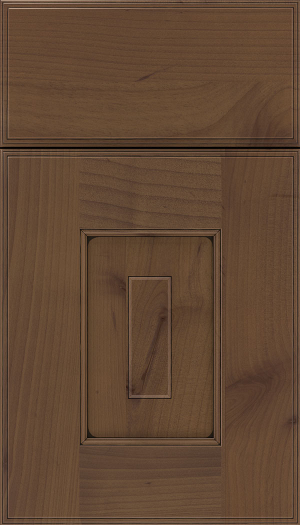 Brookfield Alder raised panel cabinet door in Sienna with Black glaze