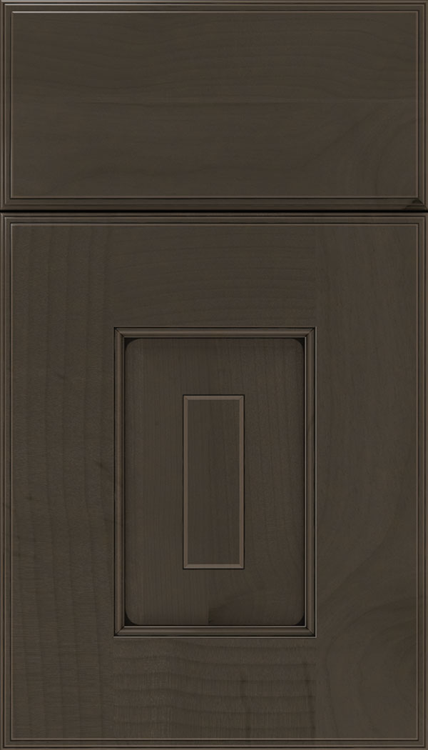 Brookfield Alder raised panel cabinet door in Thunder with Black glaze