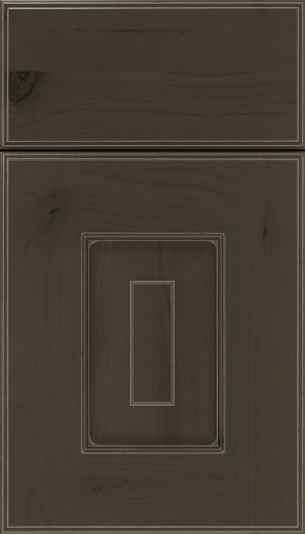 Brookfield Alder raised panel cabinet door in Thunder with Pewter glaze