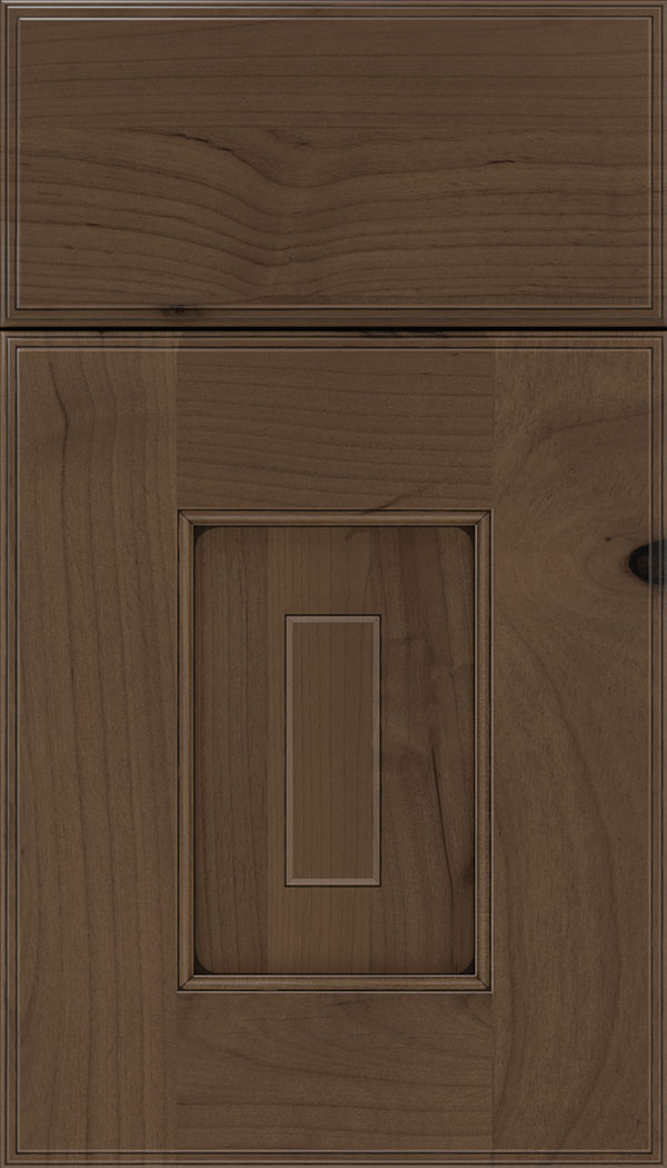 Brookfield Alder raised panel cabinet door in Toffee with Black glaze