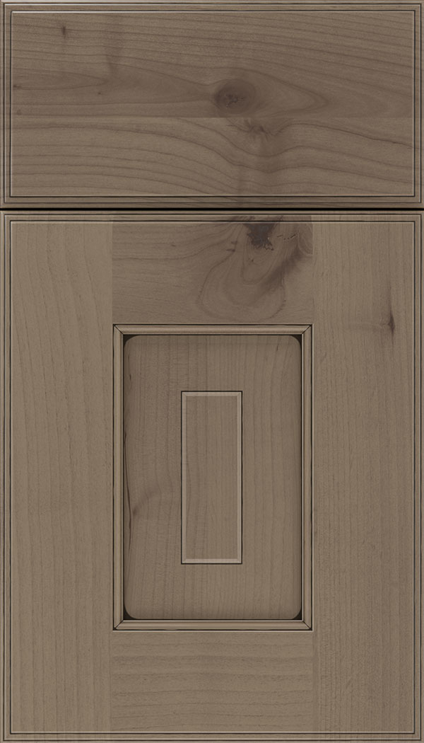 Brookfield Alder raised panel cabinet door in Winter with Black glaze