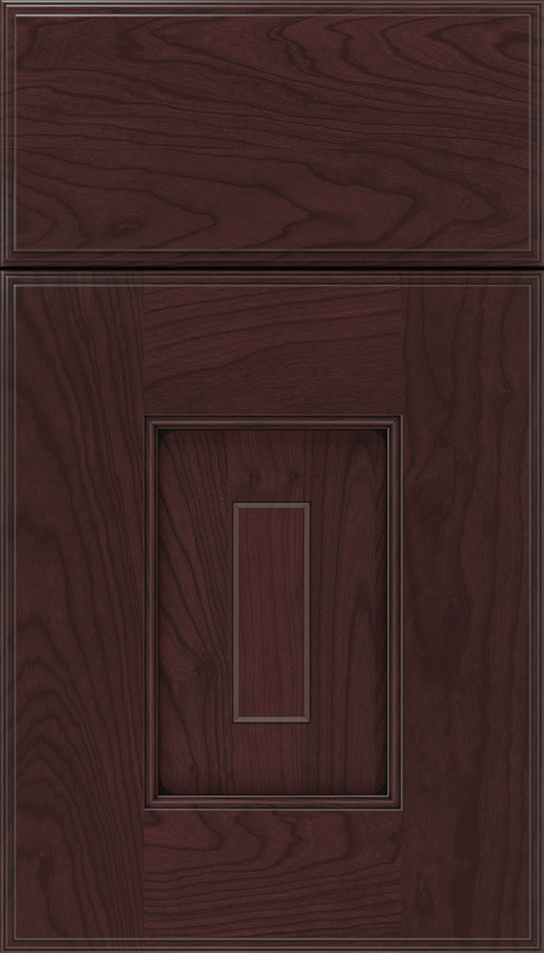 Brookfield Cherry raised panel cabinet door in Bordeaux with Black glaze