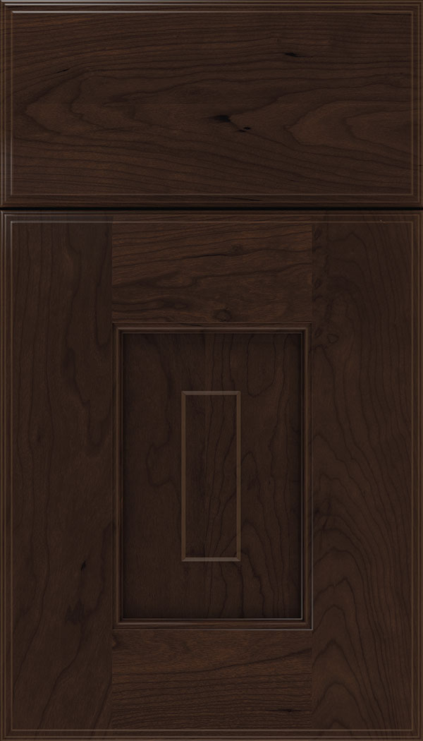 Brookfield Cherry raised panel cabinet door in Cappuccino