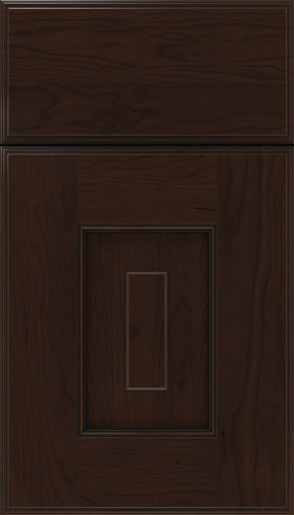 Brookfield Cherry raised panel cabinet door in Cappucinno with Black glaze