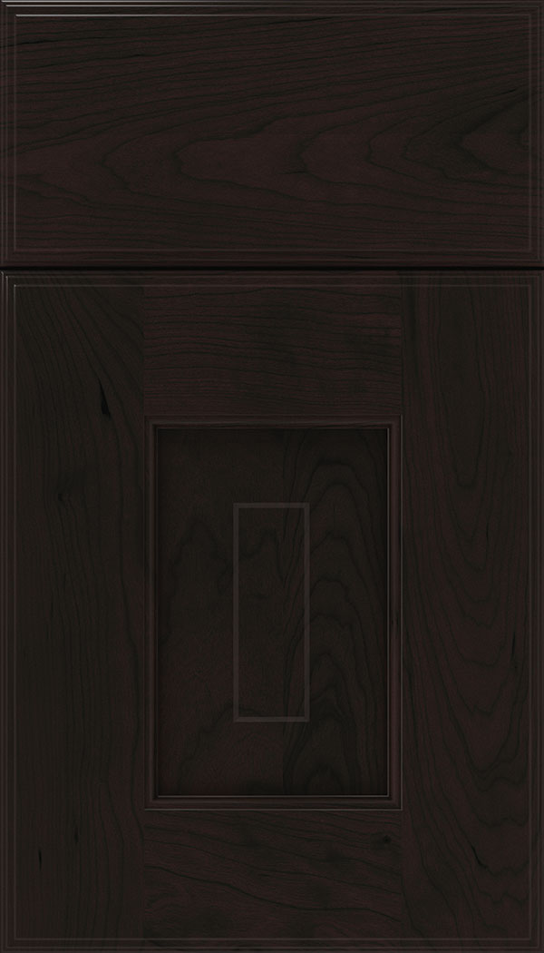 Brookfield Cherry raised panel cabinet door in Espresso